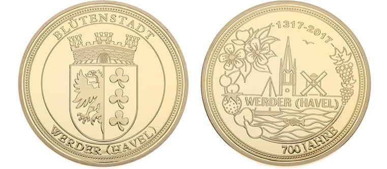 Münze zum Stadtjubiläum Werder