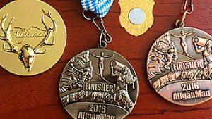 Medaillen Gold, Kupfer, Bronze, Silber Allgäu Man