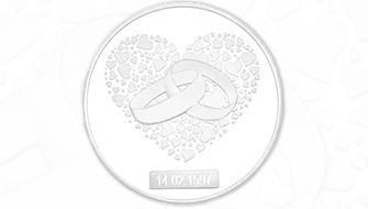 Hochzeitsmünze mit Gravurfeld